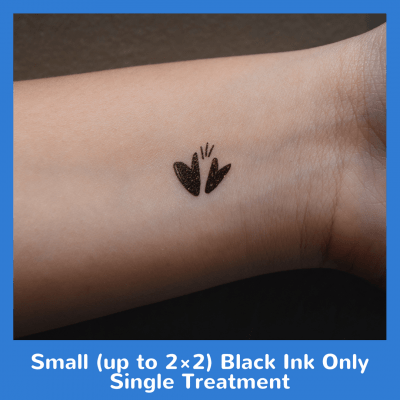 Small (up to 2×2) Black Ink Only Single Treatment